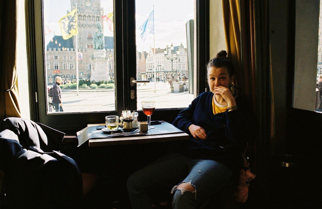 Nastya in a cafe